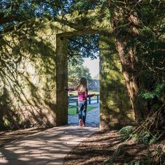 St Fagans, National History Museum,Cardiff, portrait, family, garden, gateway, Spring, shadow & light, trees, infant
