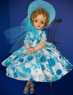"""Cissy Doll in Original Outfit: """"Blue Camellia"""" Cissy in Turquoise Toile Day Dress with Turquoise Straw Hat & Oversize Pearls from 1958 (bought in Old Dolls, Antique Dolls, Doll Clothes Patterns, Dress Patterns, Vintage Madame Alexander Dolls, Beautiful Dolls, Fashion Dolls, Baby Dolls, Barbie"""