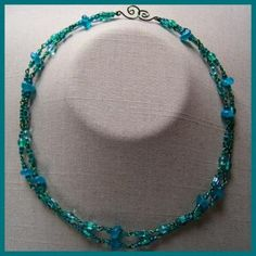 Teal Emerald Double Necklace by AthomicArtandDesign for $12.00