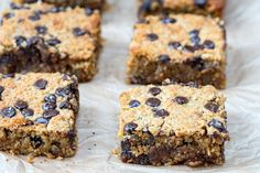 These Oatmeal Chocolate Chip Bars Are Clean Eating Heaven! - After school snacks!!! !!!  For the kids too... ;) Makes 9-12 small bars Ingredients: 1 1/2 cup quick-cooking oats (gluten-free if necessary) 1 cup almond meal ⅓ cup dried shredded coconut ½ cup coconut sugar 1 tsp baking soda ½ tsp sea salt ¼ cup raw honey ⅓ cup coconut oil, melted 1/2 cup...