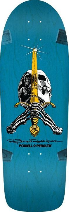 09f4bf28fd472 Powell Peralta Ray Rodriguez OG Skull and Sword Blue Skateboard Deck