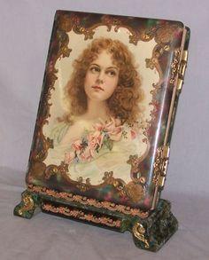 Large Antique Victorian Photo Album Woman Portrait Front