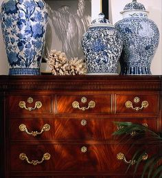 Blue and white china, antique furniture, palms, black and white photography.