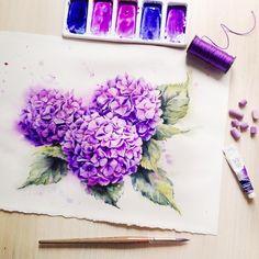 Реалистичные цветы в акварелях Елены Мороз