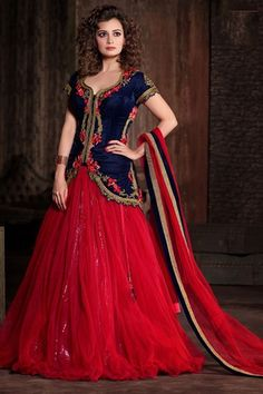 Outstanding Diya Mirza Blue And Red Net Wedding Lehenga Choli