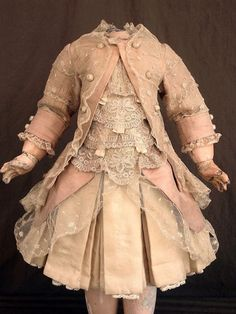 "ANTIQUE COSTUME DRESS FOR JUMEAU FRENCH BEBE OR STEINER DOLL 20""- 21"" 