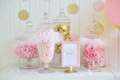 Every first birthday party needs a candy dessert bar!