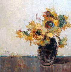 "Barbara Flowers, ""Sunflowers"" - 36x36, oil on canvas"
