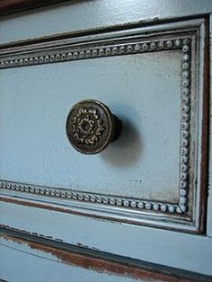distressed & glazed blue furniture. I would even add this trim if my piece was plain.