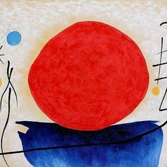 """""""#Truth is like the #sun. You can shut it out for a time, but it ain't going away.""""― Elvis Presley ❇  Joan Miró  #surreal #surrealism #painting #oilpainting #sun #red #art #creativity"""