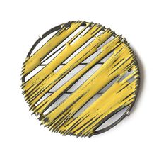 Stacey Bentley Yellow Stripey Brooch 2014 oxidised silver, iron, enamel, stainless steel pin