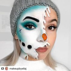 Christmas Makeup Look, Holiday Makeup Looks, Winter Makeup, Crazy Makeup, Cute Makeup, Eyeshadow Makeup, Eye Makeup Art, Eyelashes Makeup, Amazing Halloween Makeup