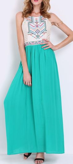 Be green in this sleeveless tribal maxi dress