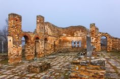 """The Agios Achilleios Basilica (10th century), Agios Achilleios islet, Mikri (""""small"""") Prespa lake, Florina, Macedonia, Greece."""