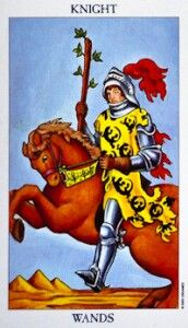 TAROT CARD FOR THE DAY.  February 4 2015  Knight Of Wands Tarot Card Meanings And Keywords:  Determination and drive.  Very charming and lovable.  Passionate and hot-tempered.  Self-confident.  Living life in the fast lane.  Love showing off.  Impulsiveness.  Travel (to fun and exciting locations)   Symbolism In Knight Of Wands  The orange horse symbolises determination and drive. The rider's tunic is decorated by images of salamander symbolising adaptability and opportunities. The plumes…