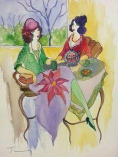 Fall Afternoon Watercolor 15x11 by Itzchak Tarkay