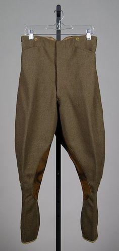 Military jodhpurs, 1918, Amer, Wool, Leather, MET