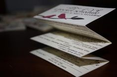 Still think this is an incredible idea - 'pocket schedule' for bridal party/parents to have all the day-of info.