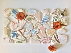 Colorful Beach pottery, Tile Shards, Beach pottery, Tile Shards ,Various Patterns Euro Coins, Thing 1, Dec 30, Tile Patterns, Art Projects, Mosaic, Finding Yourself, Gift Wrapping, Pottery