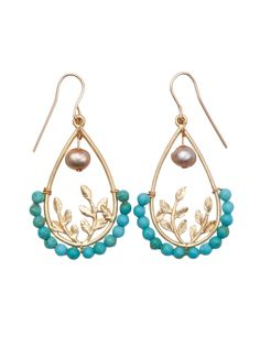 Turquoise Leaf Earrings   Genuine Turquoise bead with smoky fresh water pearl dangles surround a brass almond-shaped hoop with leaf motif.