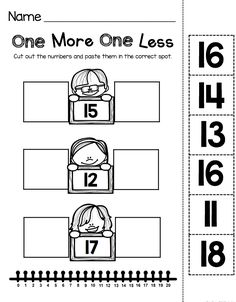 TEEN NUMBERS - one more one less using number lines - kindergarten math worksheet - cut and paste #kindergarten #teennumbers #kindergartenmath