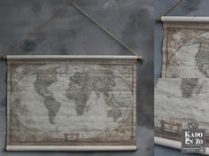 Zooo leuk voor aan de muur, deze kaart van de wereld. Echt een pronk stuk. THE WORLD. Het kleine formaat is 86 x 60 cm en de grote broer is 1.62 x 97 cm. Verkrijgbaar bij Kado en Zo Balk