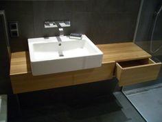 Oak washing table/desk, Waschtisch aus Eiche mit weißem Aufsatzwaschbecken