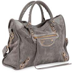 Balenciaga Metallic Edge Suede City Bag ($2,120) ❤ liked on Polyvore featuring bags, handbags, gray tote handbags, suede handbags, studded handbags, zip top tote and metallic purse