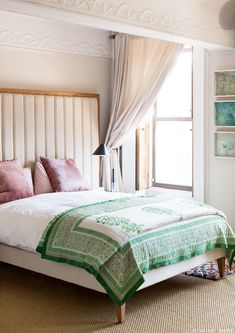 sfgirlbybay / bohemian modern style from a san francisco girl ~ETS Two Bedroom, Home Bedroom, Bedroom Decor, Pink Desk Lamps, Pastel Walls, Pastel Bedroom, American Interior, Palette, Pink Pillows