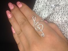 The treble clef ring I made.
