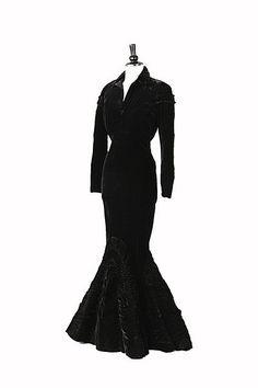 A fine black velvet ball gown attributed to Schiaparelli