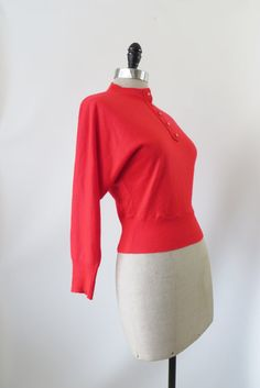 Vintage 1950s Sweater / Red Sweater with Dolman by 4birdsvintage, $54.00