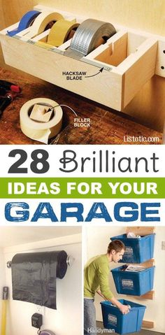 Garage organization ideas to get an organized garage. These garage ideas will help you organize your garage easily and fast. Check out these garage or. - Organized Home - Garage Workshop Garage Organisation, Diy Garage Storage, Shed Storage, Storage Organization, Organized Garage, How To Organize Garage, Small Garage Organization, Organizing Ideas, Tape Storage