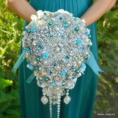 teal brooch Bouquet   Deposit on cascading teal and tiffany pearl brooch bouquet -- made to ...