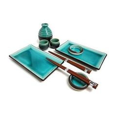 Japanese Blue Sushi Plate Set and Sake Set for Two.