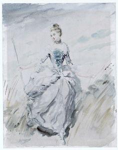 French painting ~ Jeune femme en costume Louis XV ; La jolie bergère by Jacquet Gustave.