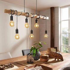 Lampe suspendue linéaire townshend l100 cm 6 ampoules noir Eglo Lighting | La Redoute