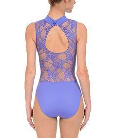 Look at this Danskin Dusted Periwinkle Lace Back Leotard - Women on #zulily today!
