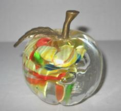 Vtg  Lenwile Ardalt  Glass Apple  Art  Brass Paperweight  Murano