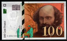 France bank euro money currency French Francs Cezanne banknote Banque de France.
