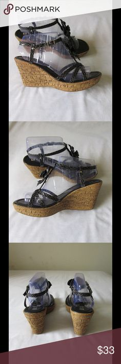 Black - Beige Wedge Sandals W/Cute Flower Detail NWOT. These pair of sandals are divine and spectacular. Super comfy. Gorgeous design. Size 9.5 Negotiable Price. Shoes Wedges