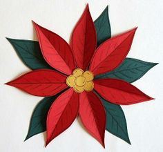 Winter Paper Piecing Patterns - Poinsettia