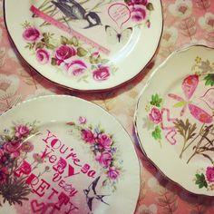 bespoke set of three heart vintage china plates