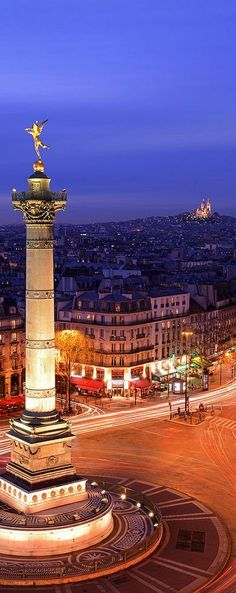 Sacré Coeur et Place de la Bastille, Paris, France.