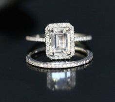 14k White Gold 8x6mm White Topaz Emerald Cut Engagement Ring and Diamonds Wedding Band set (Choose color and size options at checkout)