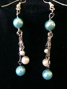 light teal and cream pearls dangling on chain by ScottishDryad, $4.00