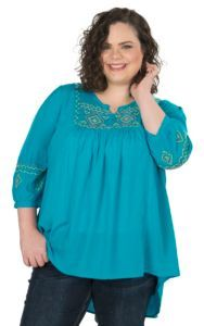 Umgee Women's Turquoise with Aztec Embroidery 3/4 Sleeve Peasant Tunic Fashion Top - Plus Size | Cavender's