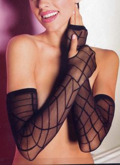 Halloween is just around the corner. Give your Halloween costume a pop with these sheer, black, shoulder length, spider web, fingerless arm gloves. $5.95