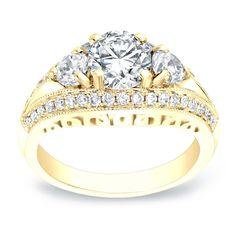 Auriya 14k Gold 2 1/5ct TDW Certified Round Cut Diamond Engagement Ring (H-I, SI1-SI2) (Rose Gold - Size 8), Women's, Pink