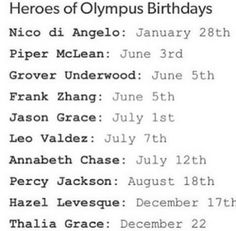 Nico di Angelo is an Aquarius Piper McLean is a Gemini Grover Underwood is a Gemini Frank Zhang is a Gemini Jason Grace is a Cancer Leo Valdez is a Cancer Annabeth Chase is a Cancer Percy Jackson is a Leo Hazel Levesque is a Sagittarius Thalia Grace is a Capricorn (( I'm a Pisces! Cancer and Pisces go well together! Come on Leo!))